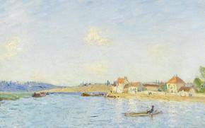 Картинка пейзаж, река, лодка, дома, картина, Alfred Sisley, Альфред Сислей, Сен-Мамес