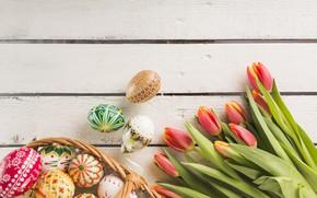 Картинка корзина, яйца, весна, пасха, тюльпаны, Праздник