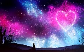 Картинка небо, девушка, звезды, ночь, природа, сердце, силуэт, by kvacm