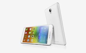 Картинка белый, серебристый, белый фон, White, смартфон, Lenovo, A5000