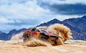 Картинка Песок, Горы, 2008, Спорт, Скорость, Гонка, Peugeot, Red Bull, 302, Rally, Dakar, Дакар, Ралли, Sport, ...