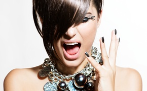 Картинка woman, make-up, pendant, Hairstyle, gestures