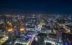 Картинка ночь, город, огни, панорама, мегаполис