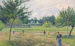 Картинка пейзаж, картина, Камиль Писсарро, Время Сенокоса