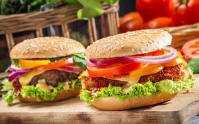 Обои бургер, овощи, булочка, котлета
