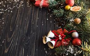 Картинка праздник, игрушки, новый год, колокольчик, декор, ветки ели