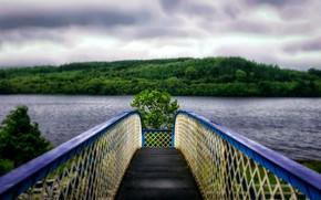 Картинка вода, горы, мост, озеро, перспектива, даль, hdr, широкоформатные, ultra hd, 4k