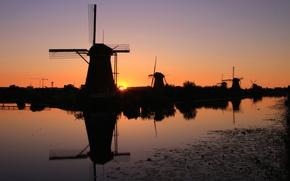 Картинка закат, силуэт, канал, Нидерланды, ветряная мельница, Киндердейк