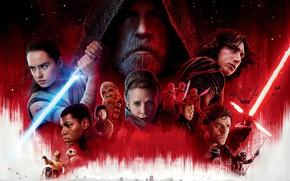 Обои постер, Oscar Isaac, Carrie Fisher, Звёздные войны: Последние джедаи, Star Wars: The Last Jedi, красный, ...