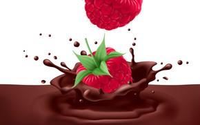 Картинка Шоколад, Ягода, Малина, Рендеринг