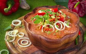 Обои лук, суп, зелень, гаспаччо, помидоры