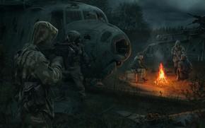 Обои арт, солдаты, свалка, чернобыль, Сталкер, Stalker, stalker, сталкеры