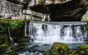 Картинка скала, камни, Франция, водопад, мох, Saut du Doubs