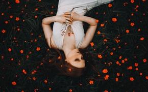 Картинка девушка, цветы, настроение, рыжая, рыжеволосая