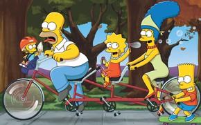 Картинка Симпсоны, Рисунок, Гомер, Семья, Мэгги, Maggie, Simpsons, Барт, Велосипед, Арт, Лиза, Мультфильм, The Simpsons, Мардж, …