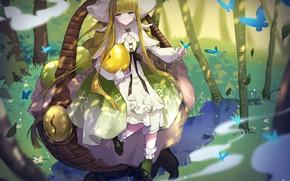Картинка аниме, арт, девочка, шляпка
