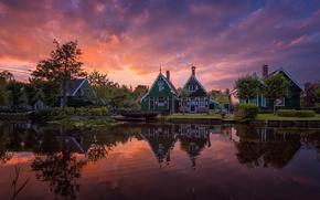 Картинка небо, облака, дома, вечер, утро, канал, Нидерланды, Голландия