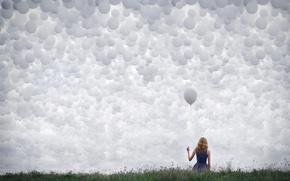 Картинка небо, девушка, шары