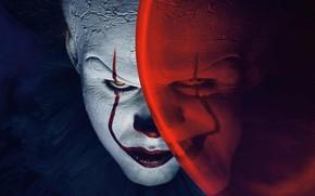 Обои глаза, зло, Пенни, волосы, улыбка, белый, Red, красный, Pennywise, синий, трещины, гримм, шар, evil, милый, ...