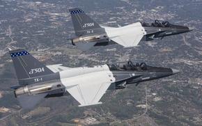 Картинка полёт, самолёт, пилоты, Lockheed Martin, учебно-боевой, T-50A