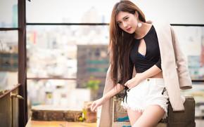Картинка взгляд, стиль, шорты, азиатка, милашка