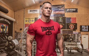 Обои WWE, dumbbells, бодибилдер, gym, WWE SmackDown, актер, рестлер, bodybuilder, muscle, мышцы, John Cena, Джон Сина