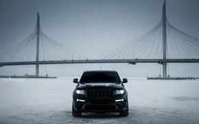 Картинка car, машина, авто, city, тачка, ice, автомобиль, srt, cars, auto, bridge, winter, jeep, grand cherokee, …