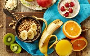 Картинка малина, яблоки, apple, полотенце, апельсины, завтрак, киви, сок, juice, фрукты, банан, fruit, orange, мюсли