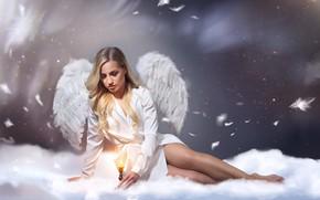 Обои ангел, Полина Таран, Сергей Майбога, крылья, свеча, перья