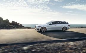Картинка дорога, белый, небо, облака, движение, Jaguar, универсал, XF Sportbrake 25d AWD