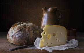 Картинка сыр, хлеб, кувшин, натюрморт