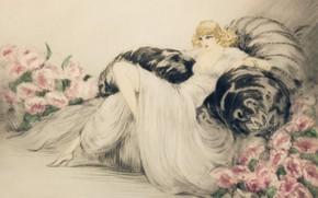Картинка 1935, Пионы, Louis Icart, блондинка в кресле