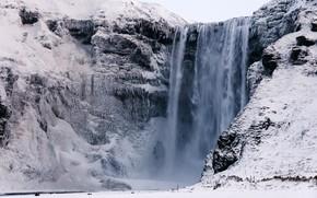 Картинка зима, снег, скала, водопад, сосульки, Исландия