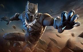 Обои костюм, когти, маска, Marvel, Чёрная Пантера, чёрный, супергерой, комикс, арт, Black Panther