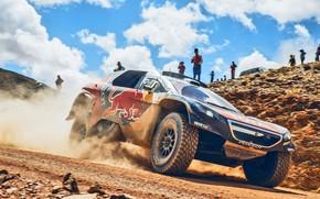 Картинка Песок, 2008, Спорт, Скорость, Люди, Гонка, Peugeot, Фары, Red Bull, Rally, Dakar, Дакар, Ралли, Sport, …