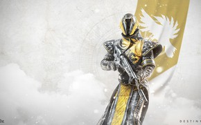 Картинка gun, game, Hunter, armor, weapon, phoenix, flag, Destiny, Warlock, Destiny 2
