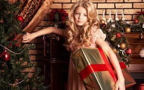 Картинка праздник, подарок, корона, платье, костюм, девочка, принцеса