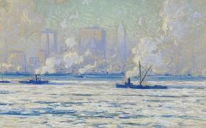 Обои Зимний Вид Нью-Йорка со Стороны Гудзона, картина, Элиот Канди Кларк, пейзаж, Eliot Candee Clark