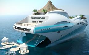 Обои проект, superyacht, Futuristic, яхта-остров, gesign, Yacht-island, tip 1