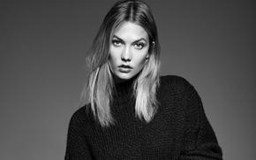 Картинка фото, фон, модель, портрет, макияж, прическа, черно-белое, свитер, Elle, Karlie Kloss, Карли Клосс, Derek Kettela