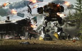 Картинка оружие, робот, разрушения, лазер, Unconventional Warfare