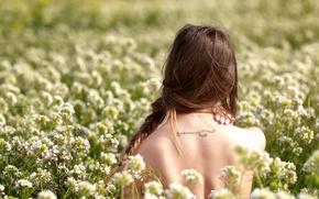 Картинка поле, девушка, спина, тату, Flora, Studio Hors-champ