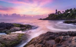 Картинка море, облака, пальмы, скалы, маяк, Индия, Ковалам