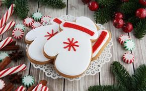 Картинка праздник, новый год, рождество, печенье, Christmas, глазурь, candy, cookie