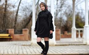 Картинка милая, платье, губки, прелесть, платок, Murat Kuzhakhmetov
