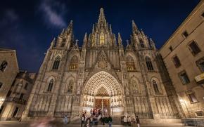 Картинка hdr, Испания, Барселона, Собор Святого Креста и Святой Евлалии