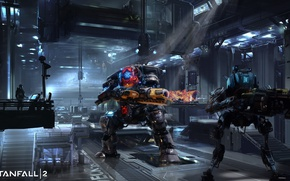Картинка fire, flame, gun, robot, weapon, machine, man, suit, spark, Titanfall, Titan, kyojin, drone, Titanfall 2, …
