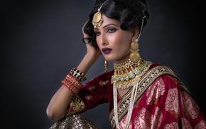 Картинка девушка, украшения, макияж, невеста, сари, свадебный наряд