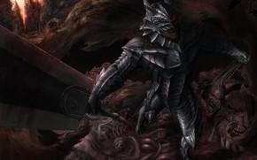 Картинка злость, меч, голова, доспехи, монстры, Берсерк