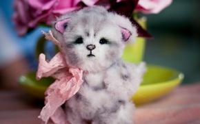 Картинка котенок, игрушка, бант